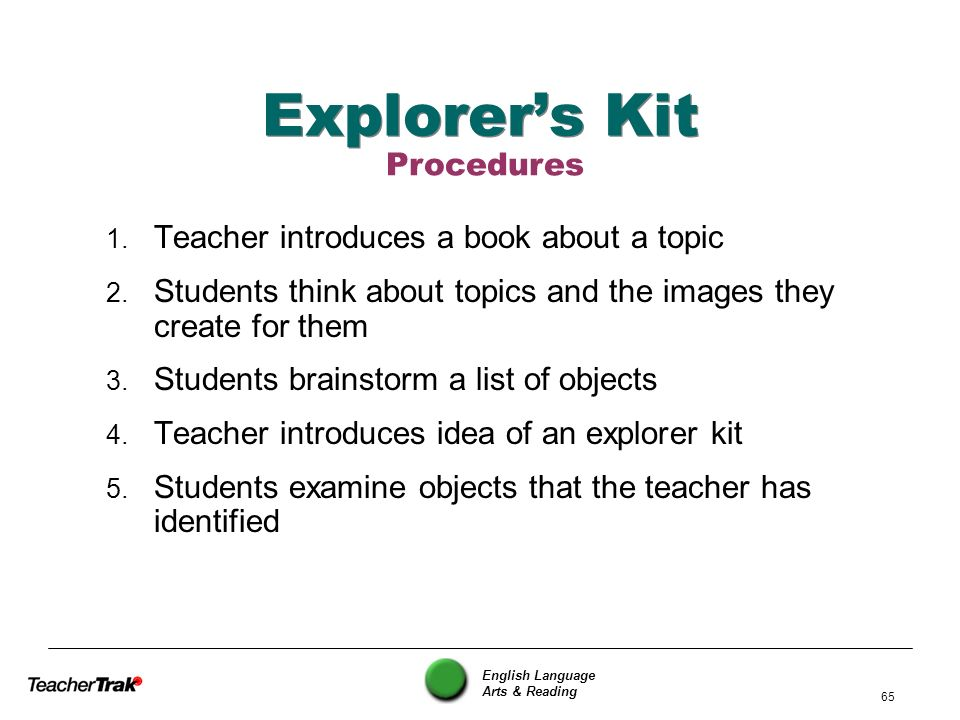 Explorer's Kit Procedures Teacher introduces a book about a topic