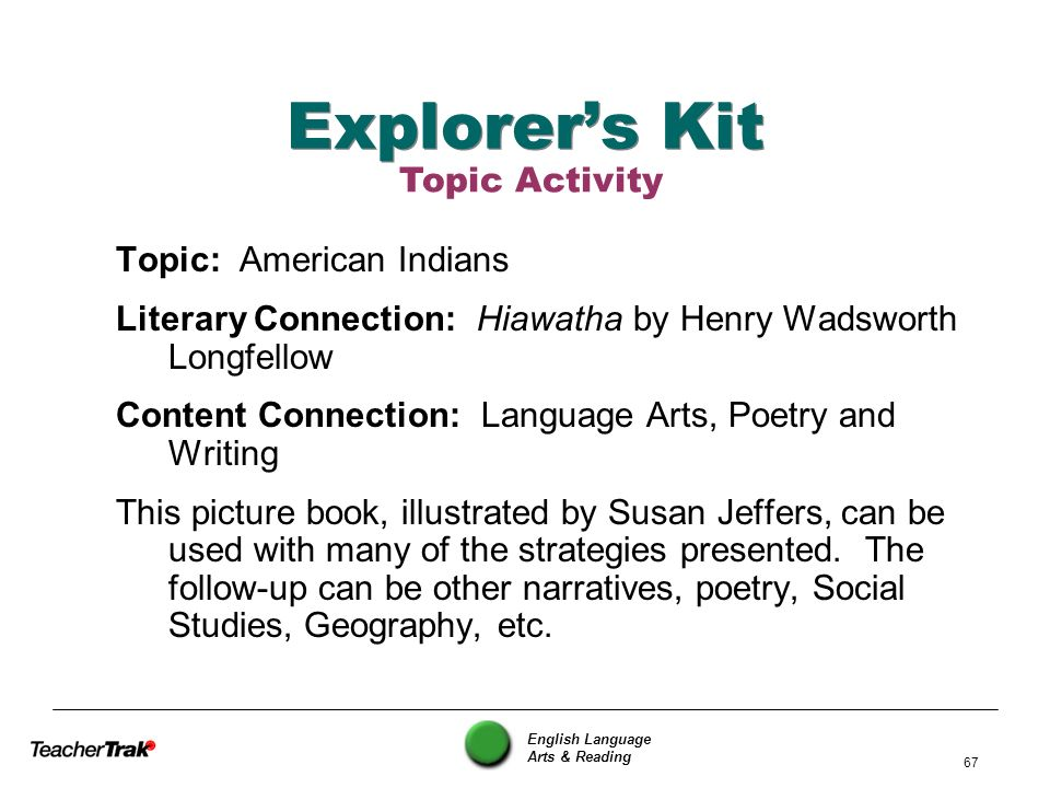 Explorer's Kit Topic Activity Topic: American Indians