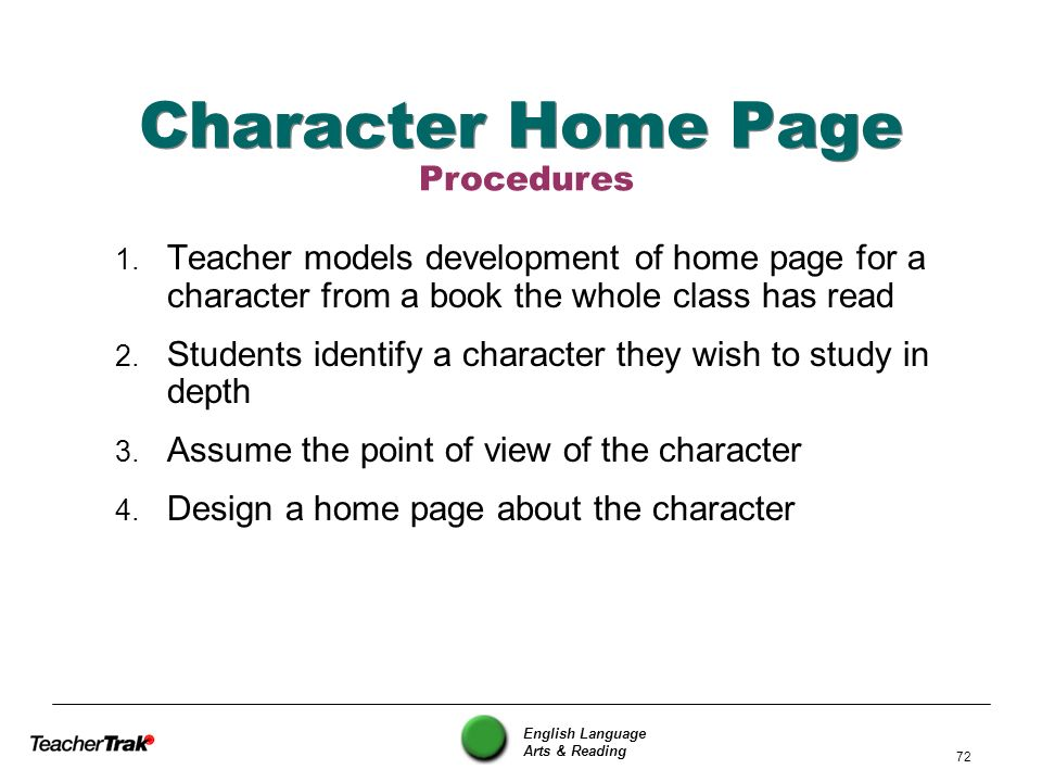 Character Home Page Procedures