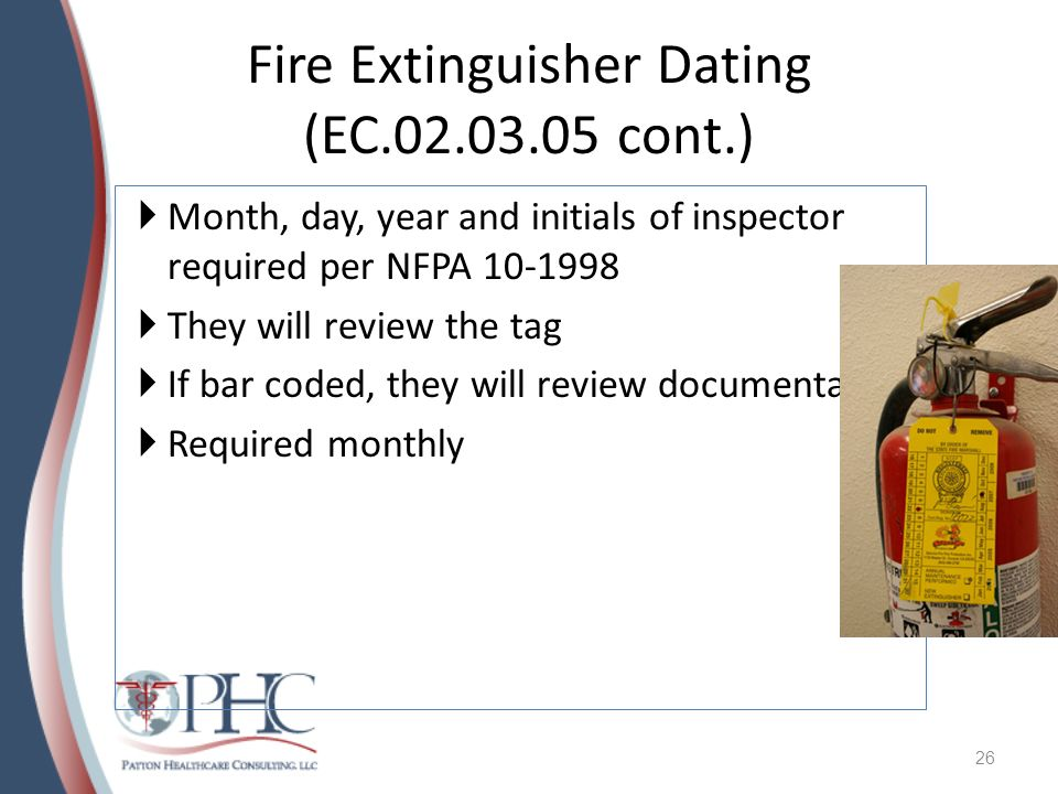 Fire Extinguisher Dating (EC cont.)