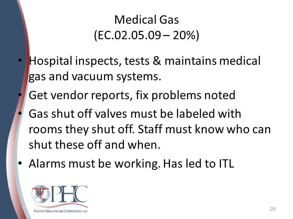 Medical Gas (EC – 20%) Hospital inspects, tests & maintains medical gas and vacuum systems.