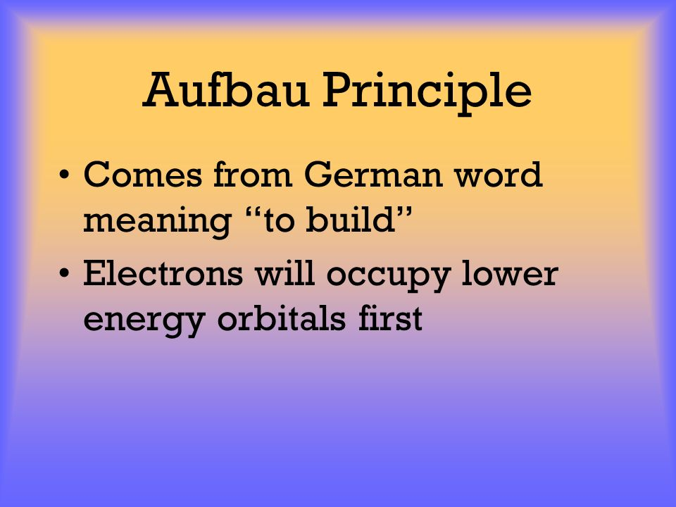 Aufbau Principle Comes from German word meaning to build