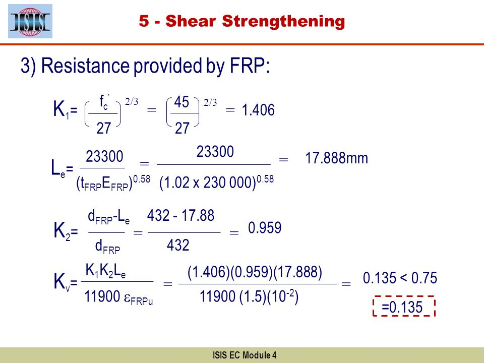 3) Resistance provided by FRP: