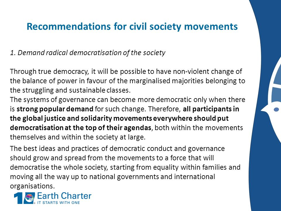 Recommendations for civil society movements