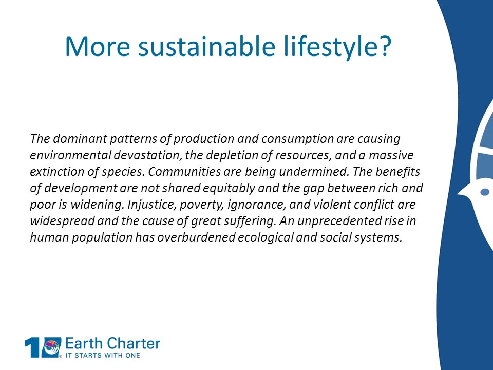 More sustainable lifestyle
