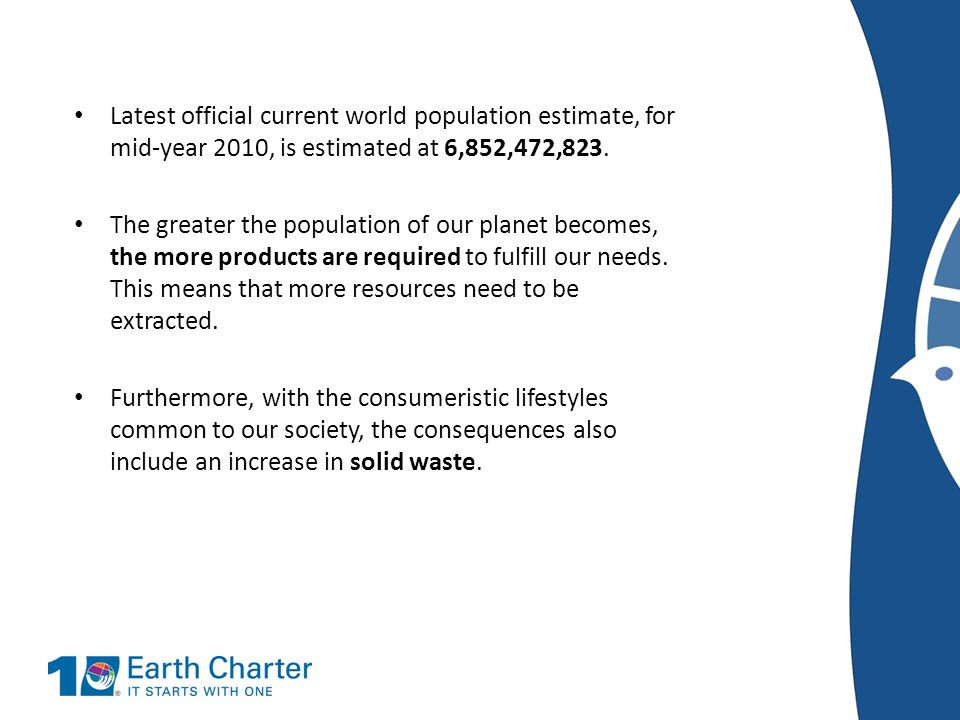 Latest official current world population estimate, for mid-year 2010, is estimated at 6,852,472,823.