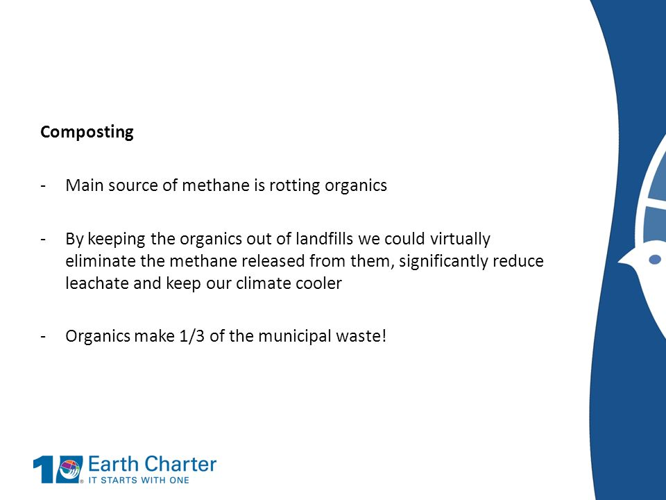 Composting Main source of methane is rotting organics.