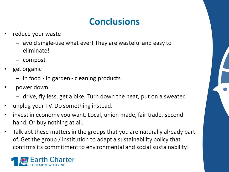 Conclusions reduce your waste