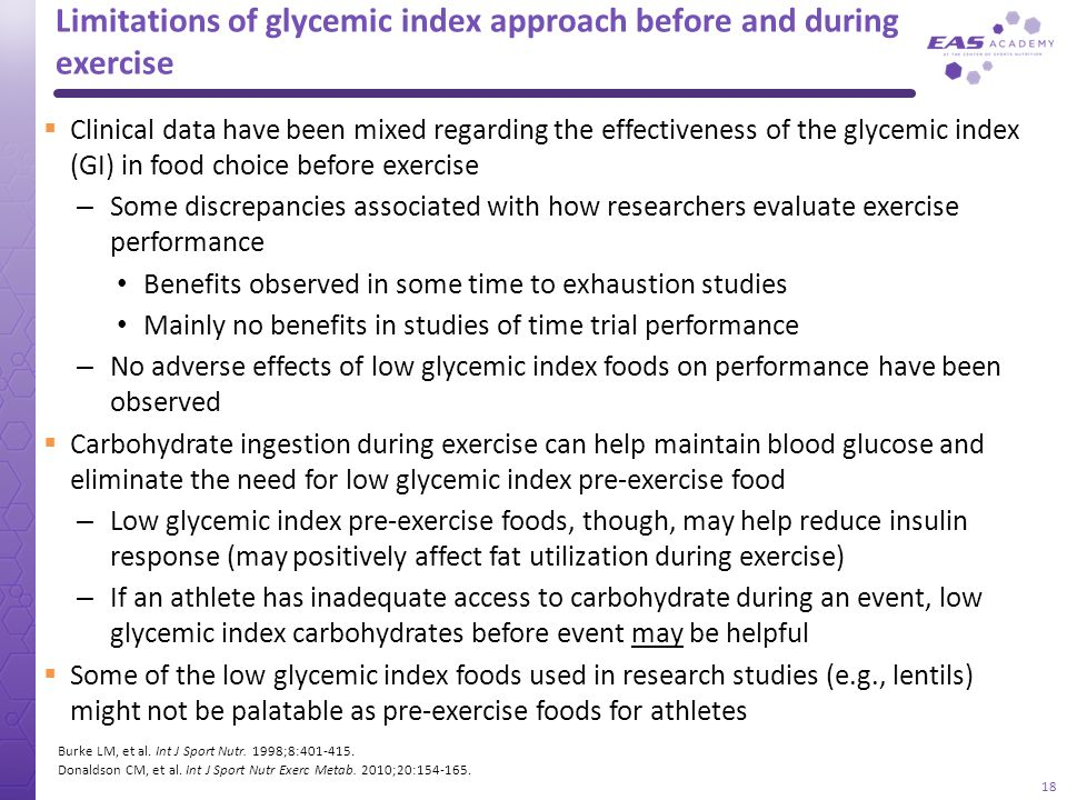 Limitations of glycemic index approach before and during exercise