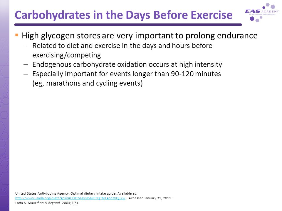 Carbohydrates in the Days Before Exercise