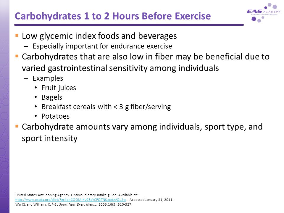 Carbohydrates 1 to 2 Hours Before Exercise