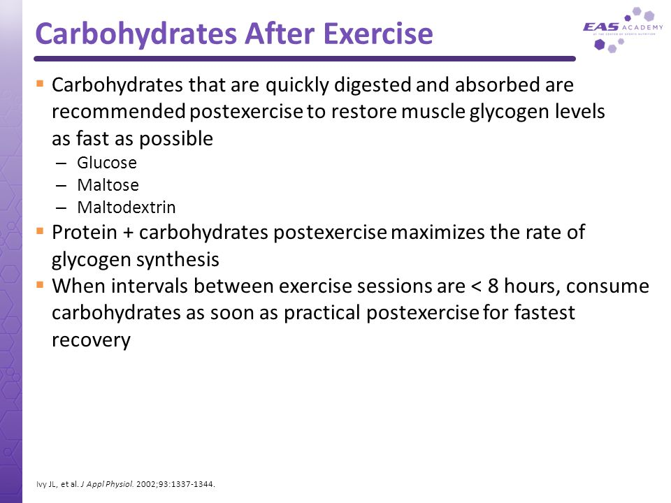 Carbohydrates After Exercise