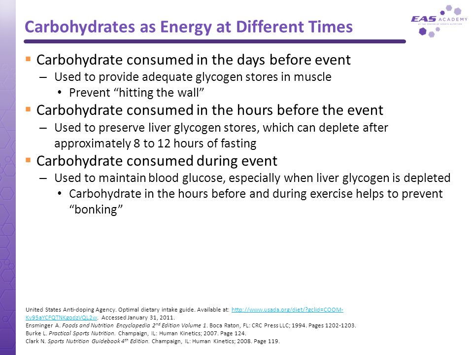 Carbohydrates as Energy at Different Times