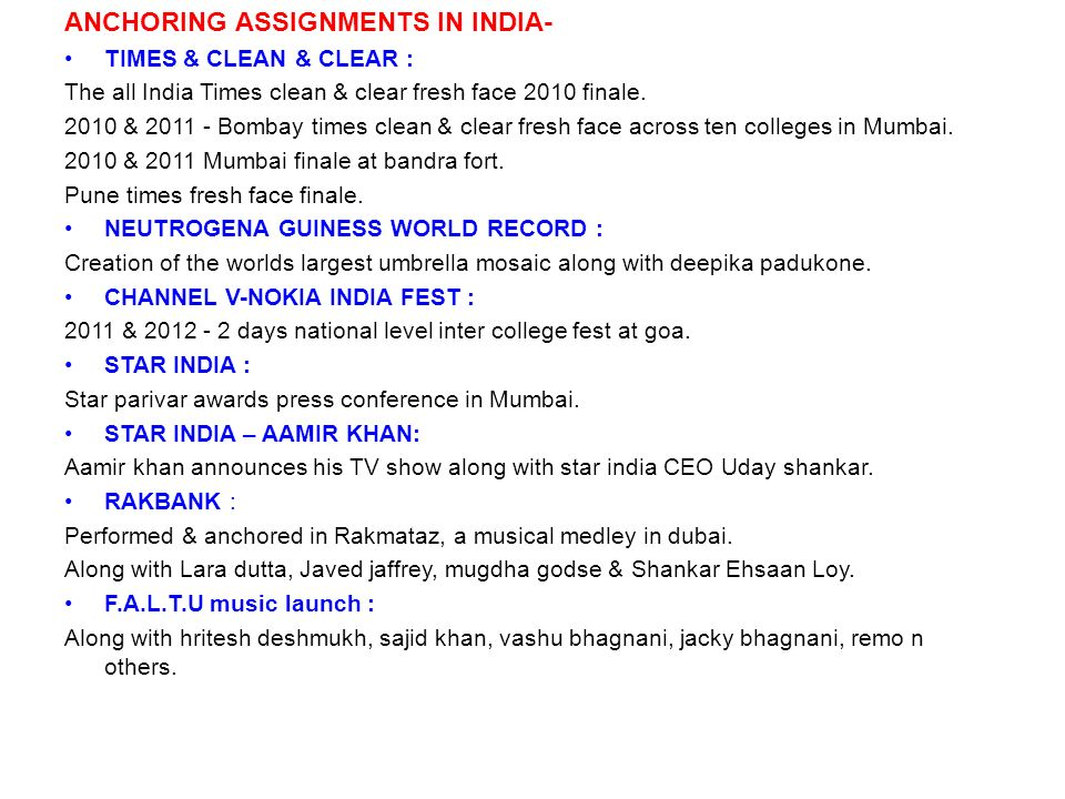ANCHORING ASSIGNMENTS IN INDIA-
