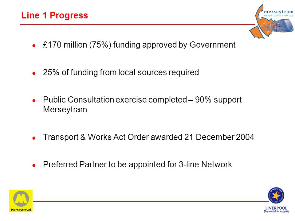 Line 1 Progress £170 million (75%) funding approved by Government