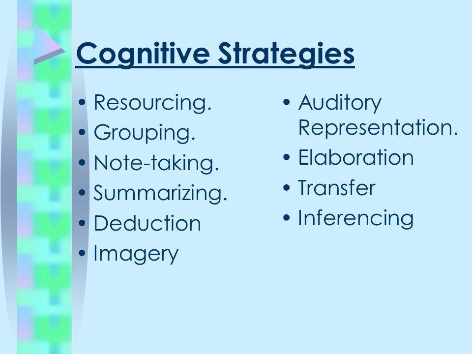 Cognitive Strategies Resourcing. Grouping. Note-taking. Summarizing.