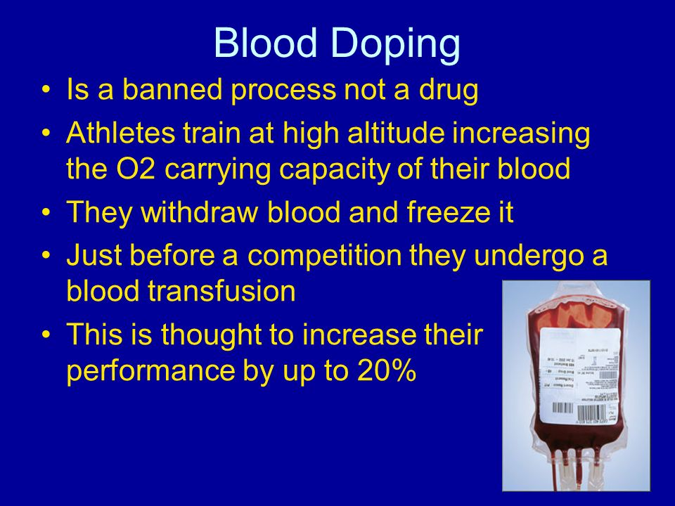 Blood Doping Is a banned process not a drug