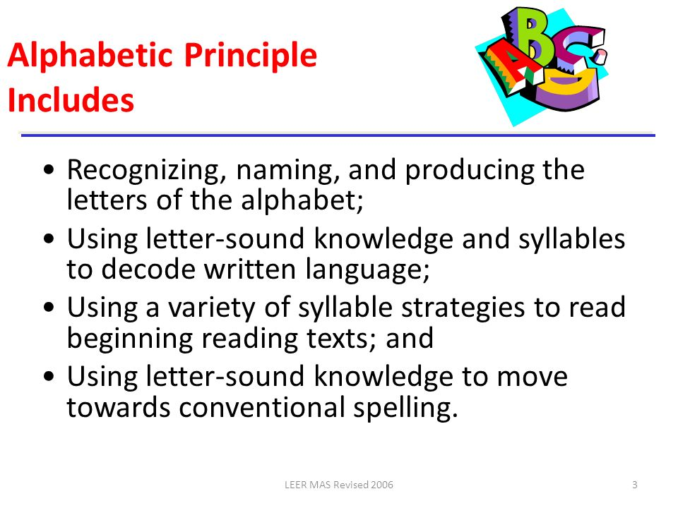 Alphabetic Principle Includes