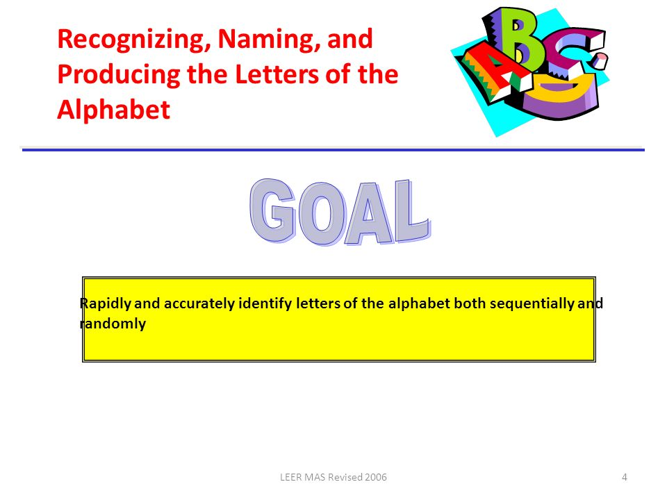 GOAL Recognizing, Naming, and Producing the Letters of the Alphabet