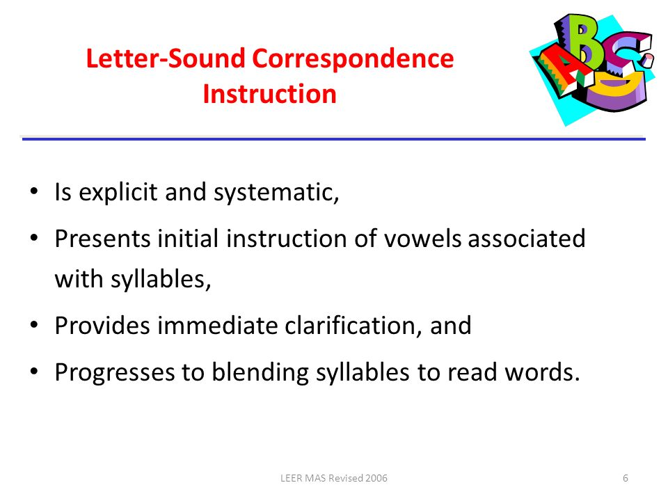 Letter-Sound Correspondence Instruction