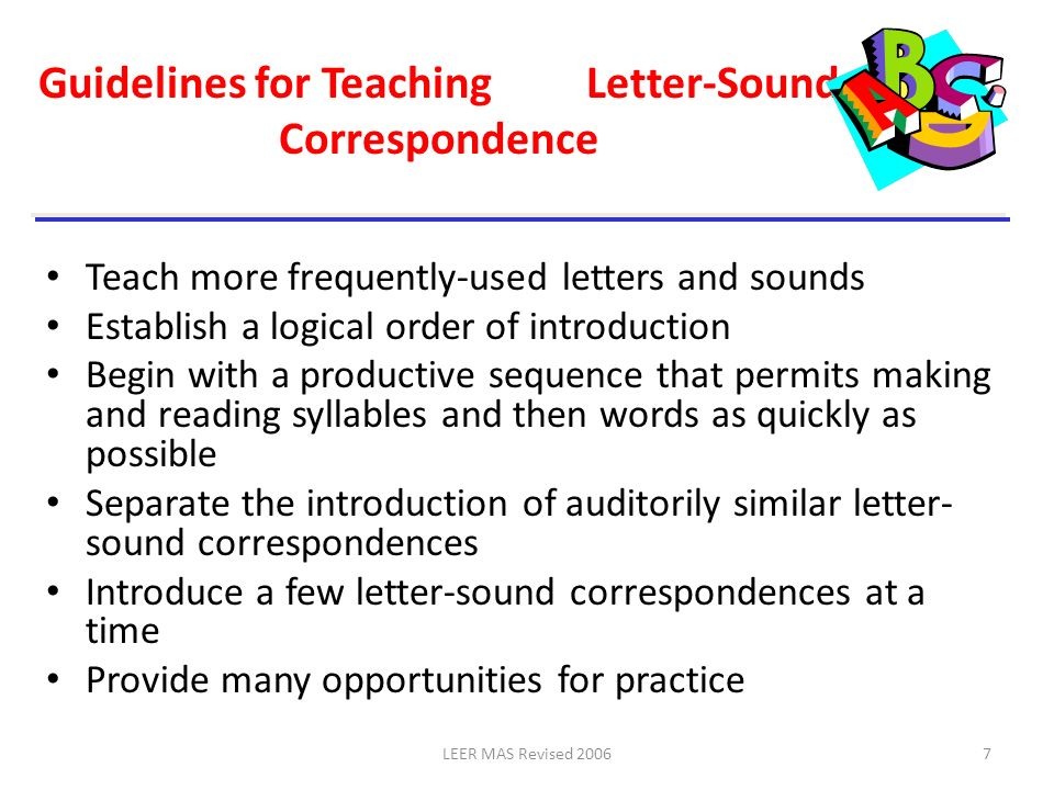 Guidelines for Teaching Letter-Sound Correspondence
