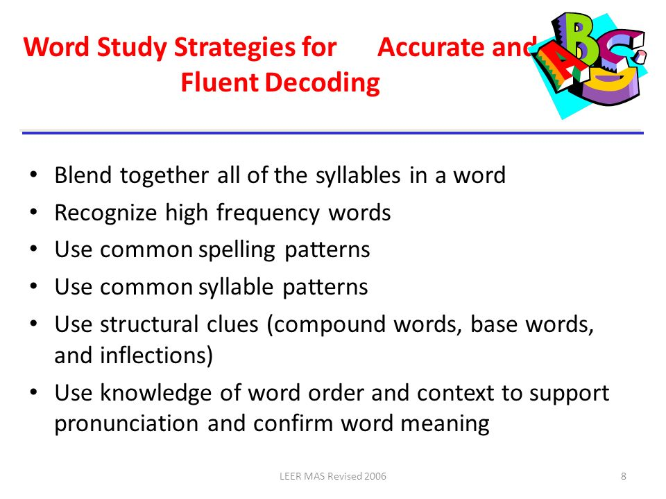 Word Study Strategies for Accurate and Fluent Decoding