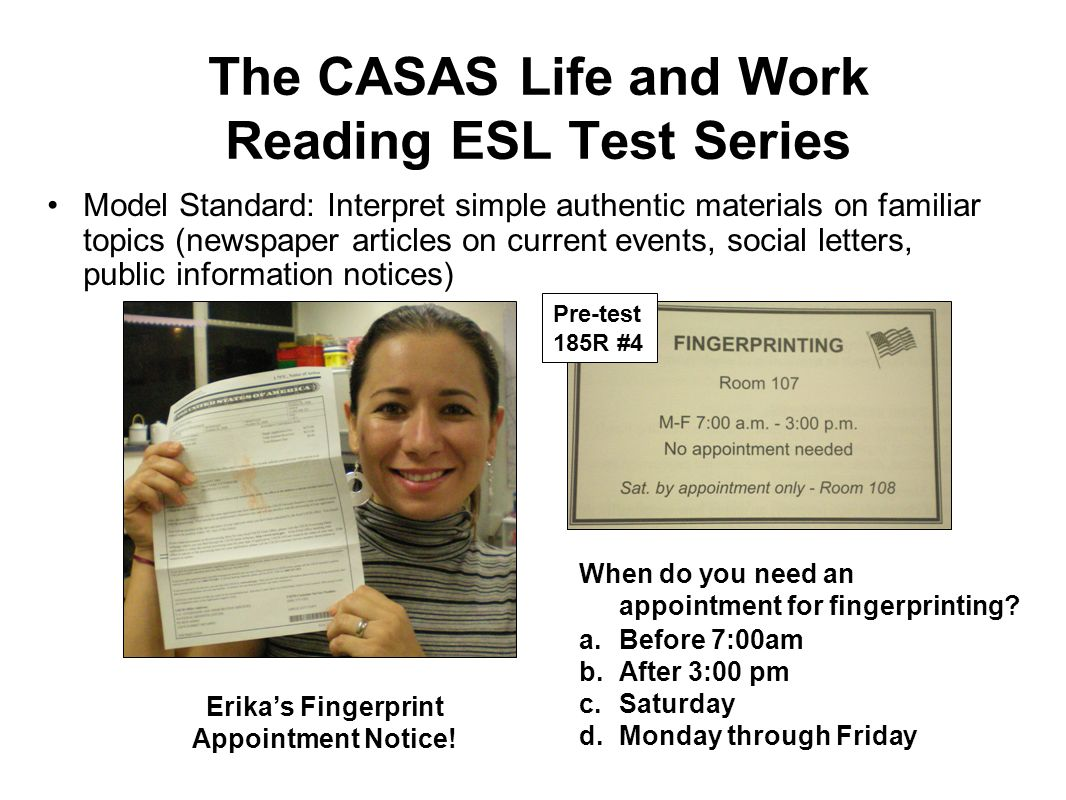 The CASAS Life and Work Reading ESL Test Series