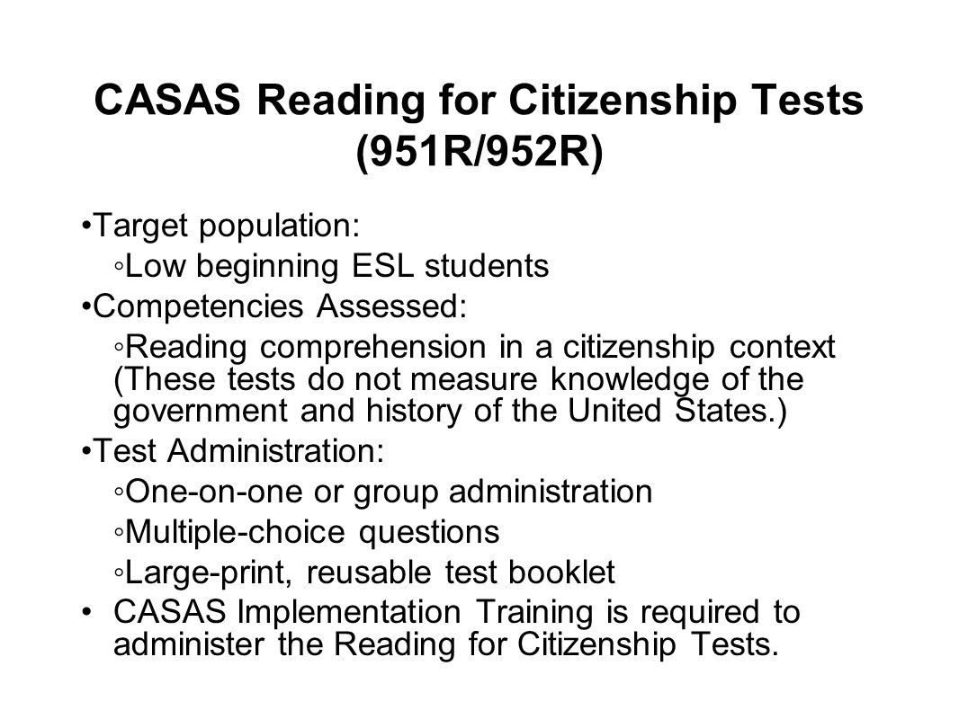 CASAS Reading for Citizenship Tests (951R/952R)
