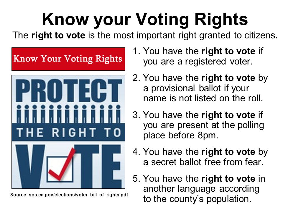 Know your Voting Rights The right to vote is the most important right granted to citizens.