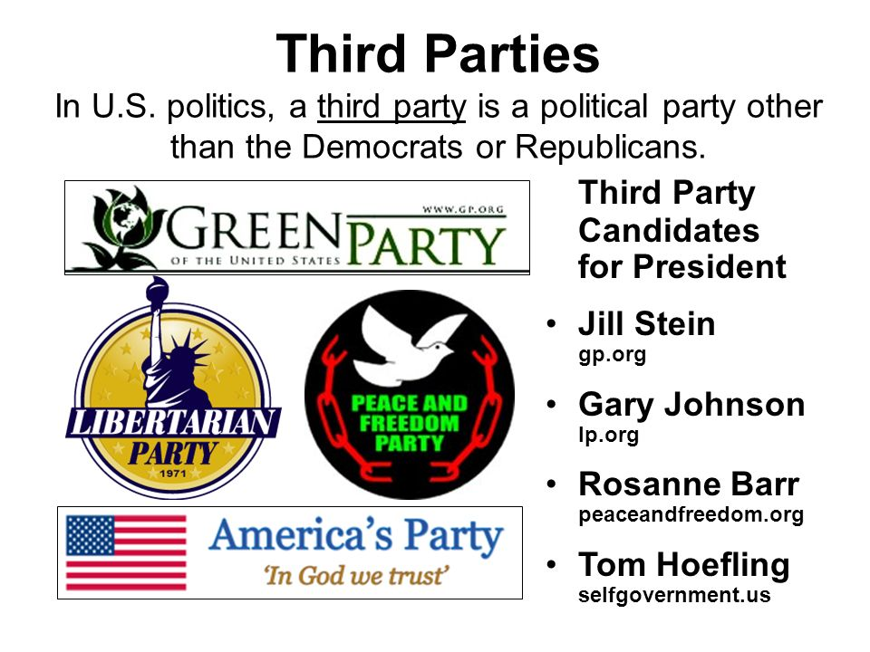 Third Parties In U.S. politics, a third party is a political party other than the Democrats or Republicans.