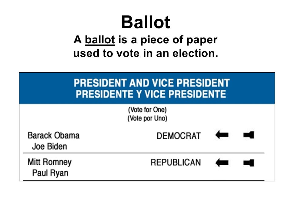 Ballot A ballot is a piece of paper used to vote in an election.