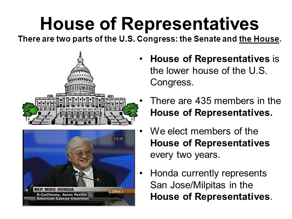 House of Representatives There are two parts of the U. S