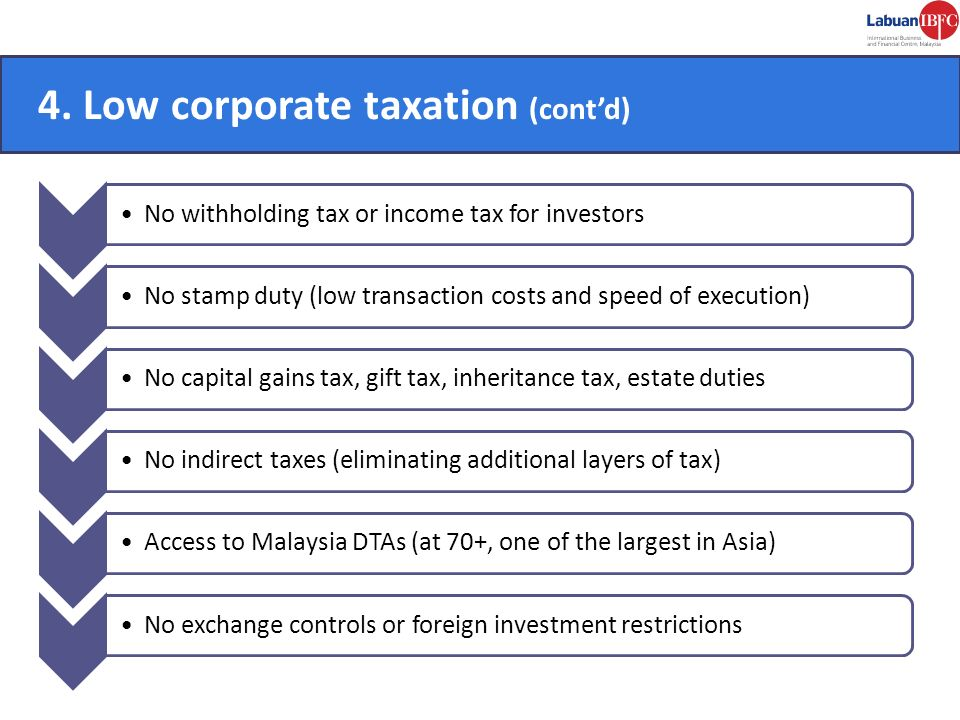 4. Low corporate taxation (cont'd)