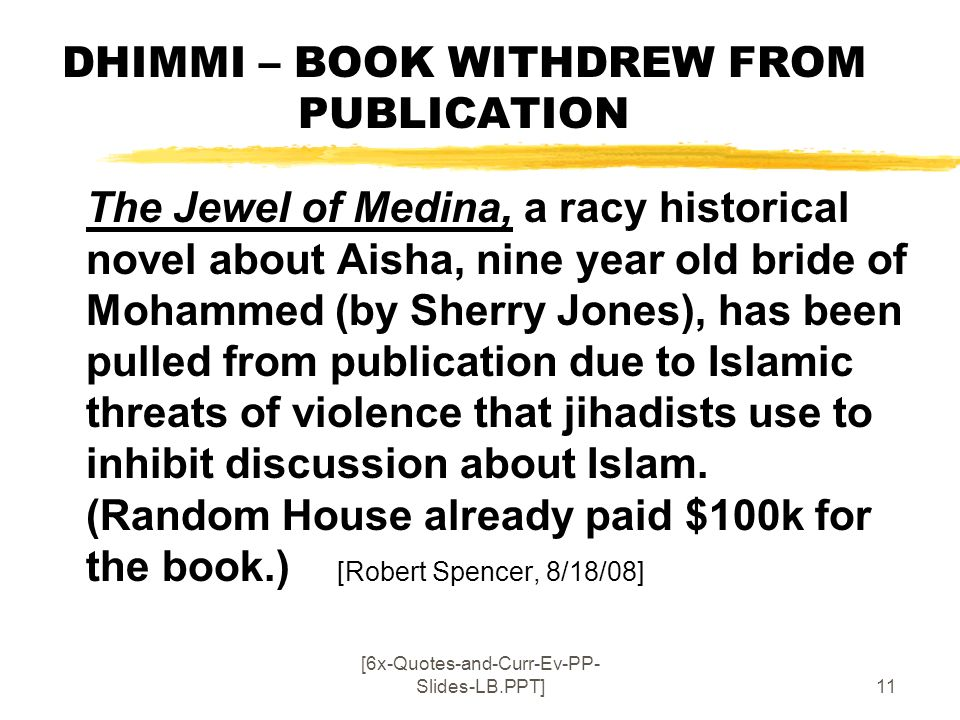 DHIMMI – BOOK WITHDREW FROM PUBLICATION