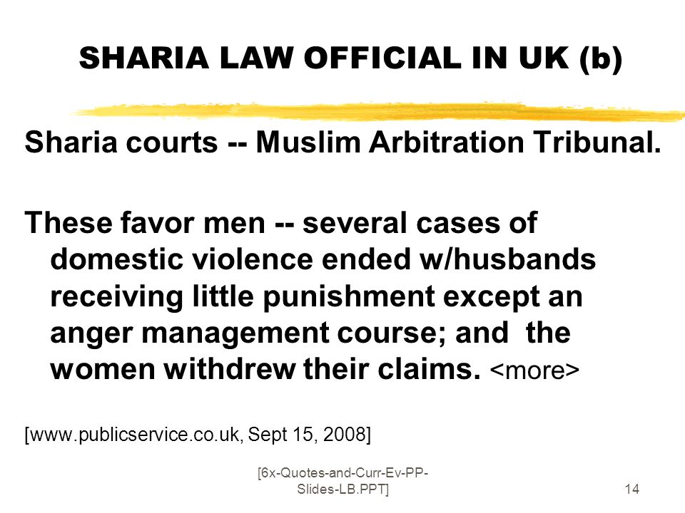 SHARIA LAW OFFICIAL IN UK (b)