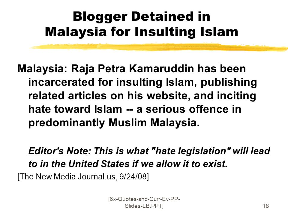 Blogger Detained in Malaysia for Insulting Islam