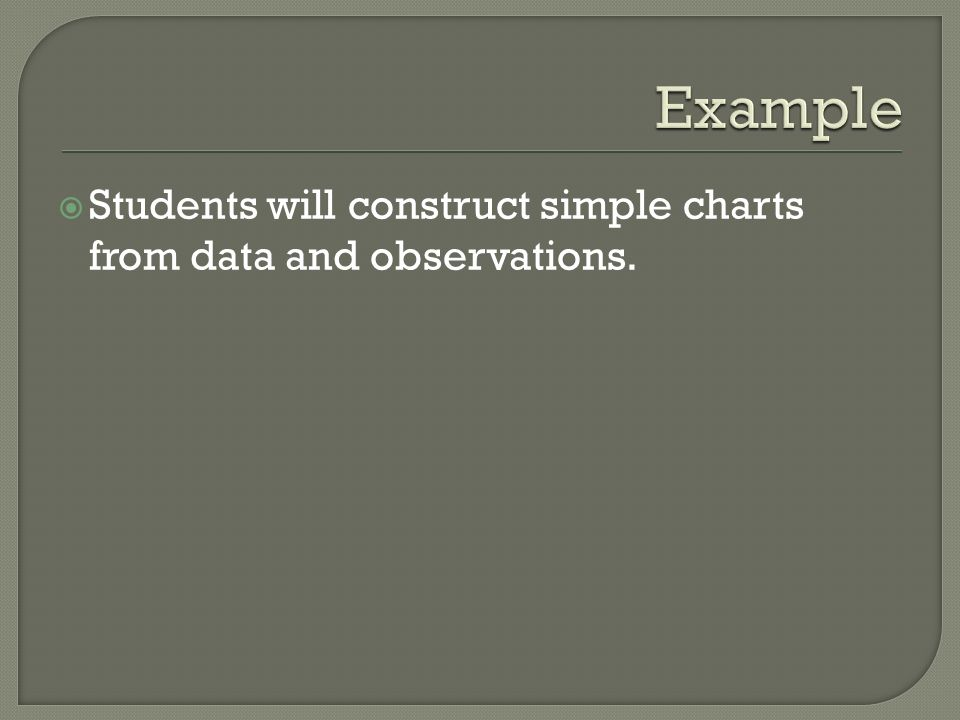 Example Students will construct simple charts from data and observations.