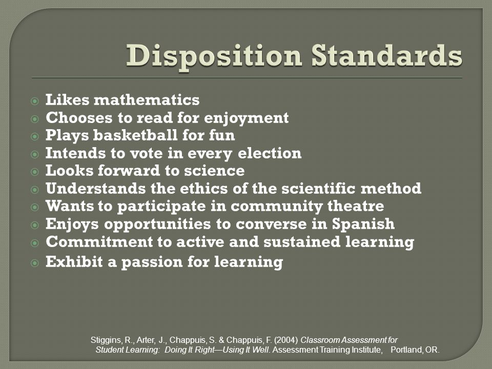 Disposition Standards