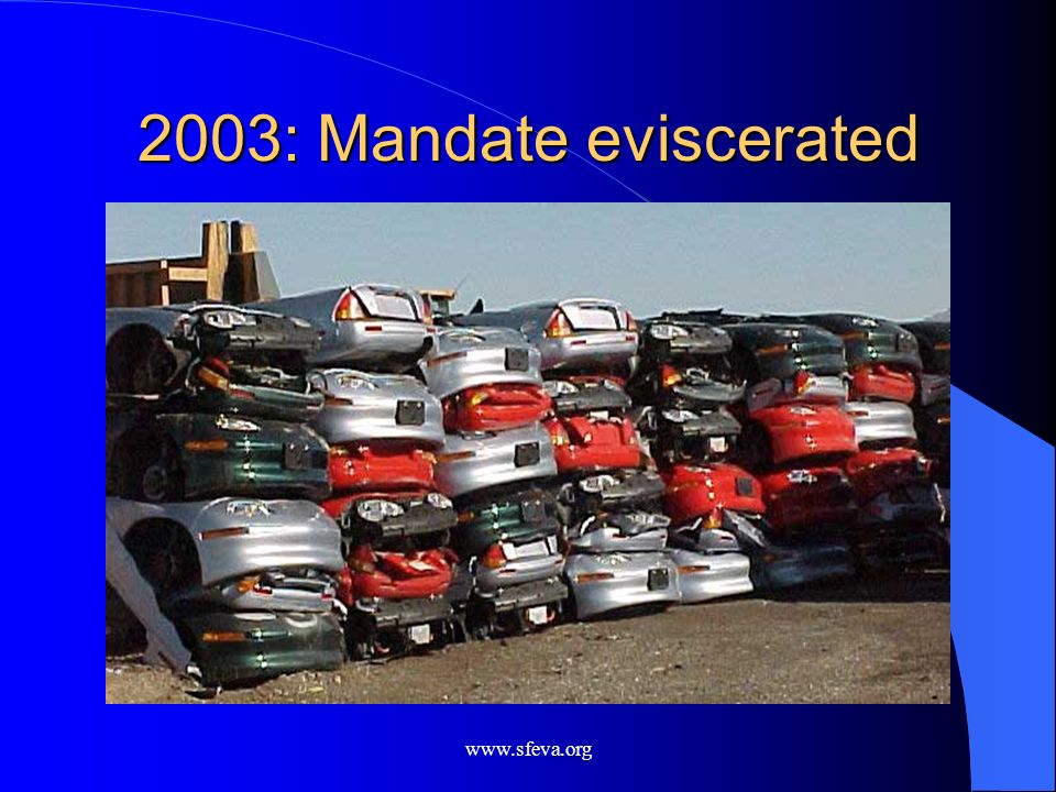 2003: Mandate eviscerated www.sfeva.org