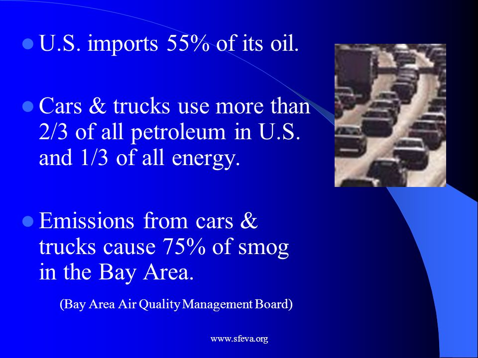 Emissions from cars & trucks cause 75% of smog in the Bay Area.