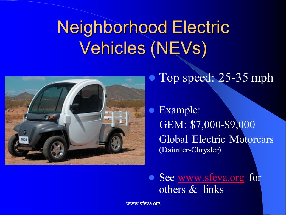 Neighborhood Electric Vehicles (NEVs)
