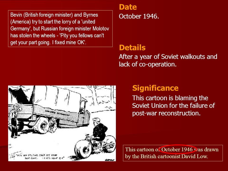 Date Details Significance October 1946.