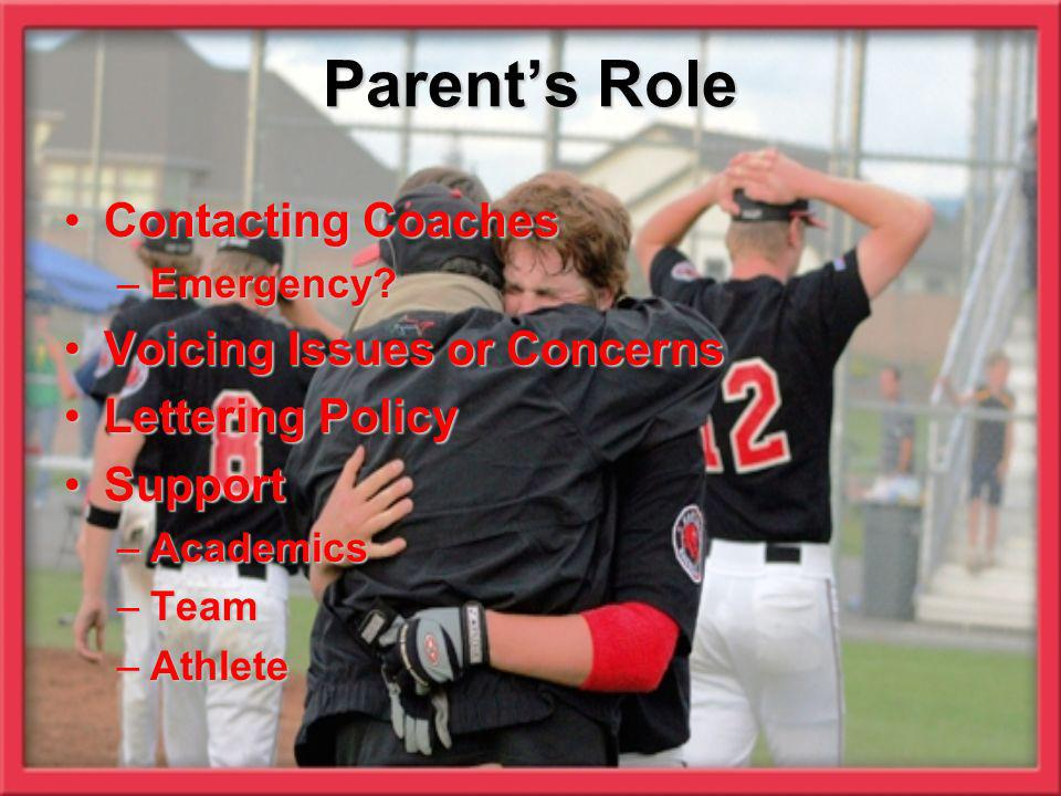 Parent's Role Contacting Coaches Voicing Issues or Concerns
