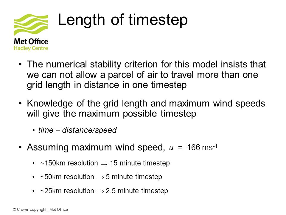 Length of timestep