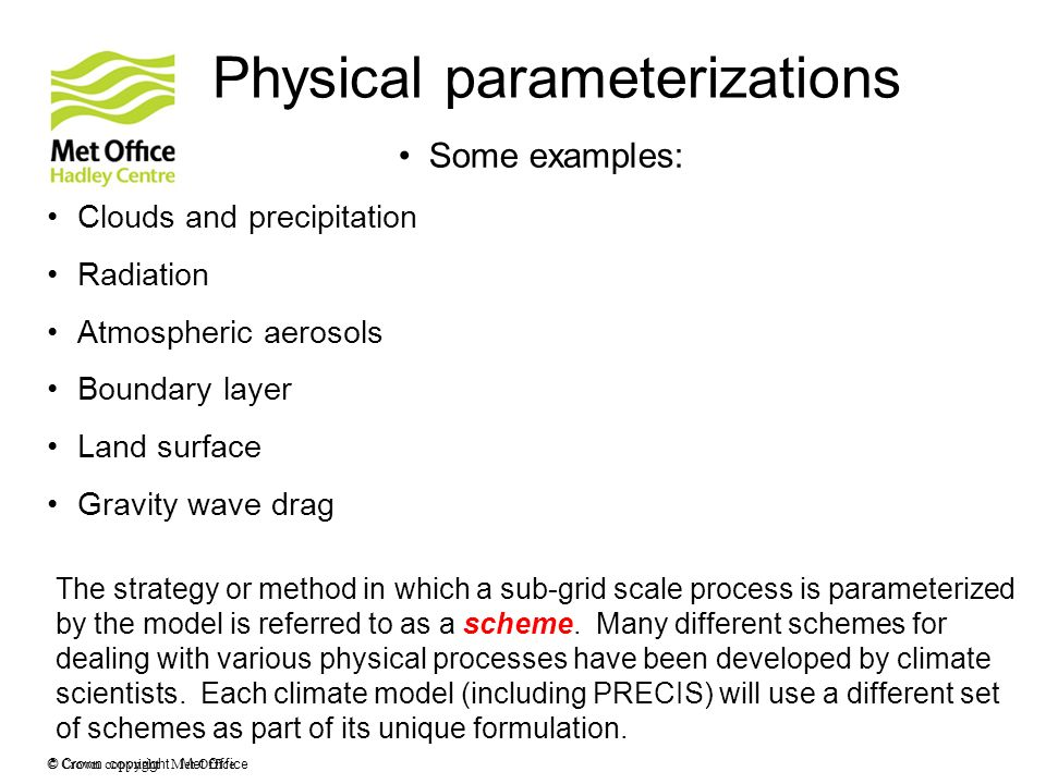 Physical parameterizations