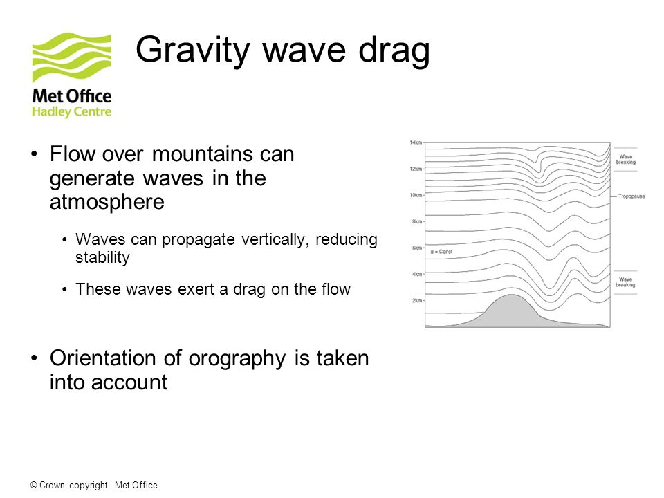 Gravity wave drag Flow over mountains can generate waves in the atmosphere. Waves can propagate vertically, reducing stability.