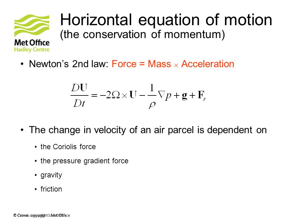 Horizontal equation of motion (the conservation of momentum)