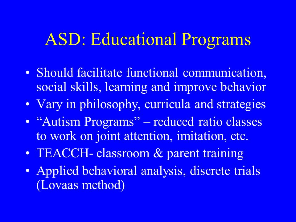 ASD: Educational Programs