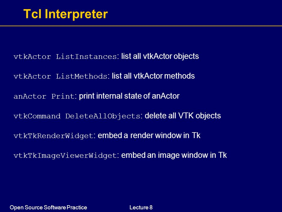 Tcl Interpreter vtkActor ListInstances: list all vtkActor objects