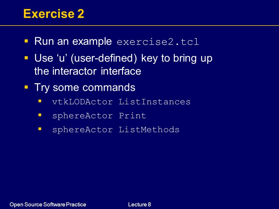Exercise 2 Run an example exercise2.tcl